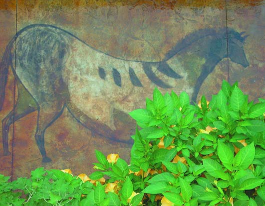 Here a horse that was drawn in the time of cavemen was recreated on this concrete patio.