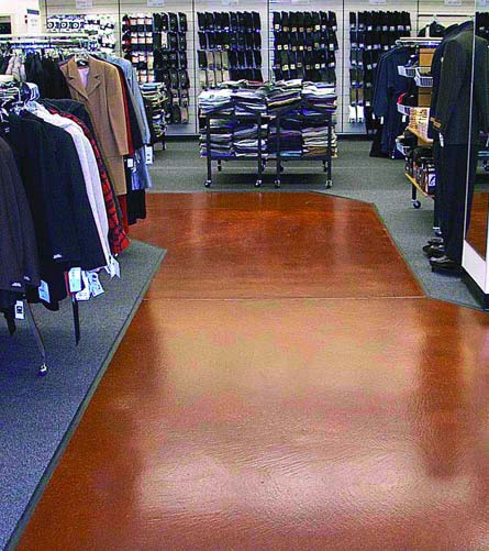 High-traffic retail spaces are a great place for a concrete floor to be colored with Rafco Products.