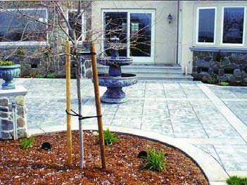 Outdoor patio with stamped concrete.