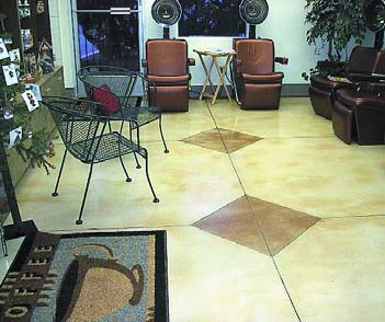Salon floor with offset diamonds stained into the concrete