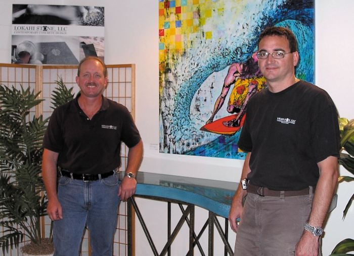 Lokahi Stone - Jamie McGuire, left,and Andrew Simon. Their seven-person company, Lokahi Stone, quickly filled a niche in Hawaii's thriving construction industry. The company specializes in custom-made concrete countertops and sinks, furniture and flooring.
