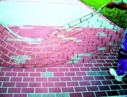 placing concrete stencils on existing concrete