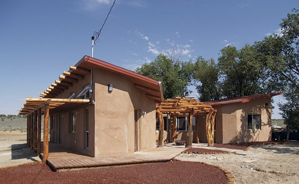 View from the east a Navajo Nation home build using aerated concrete which contains fly ash and cools homes.