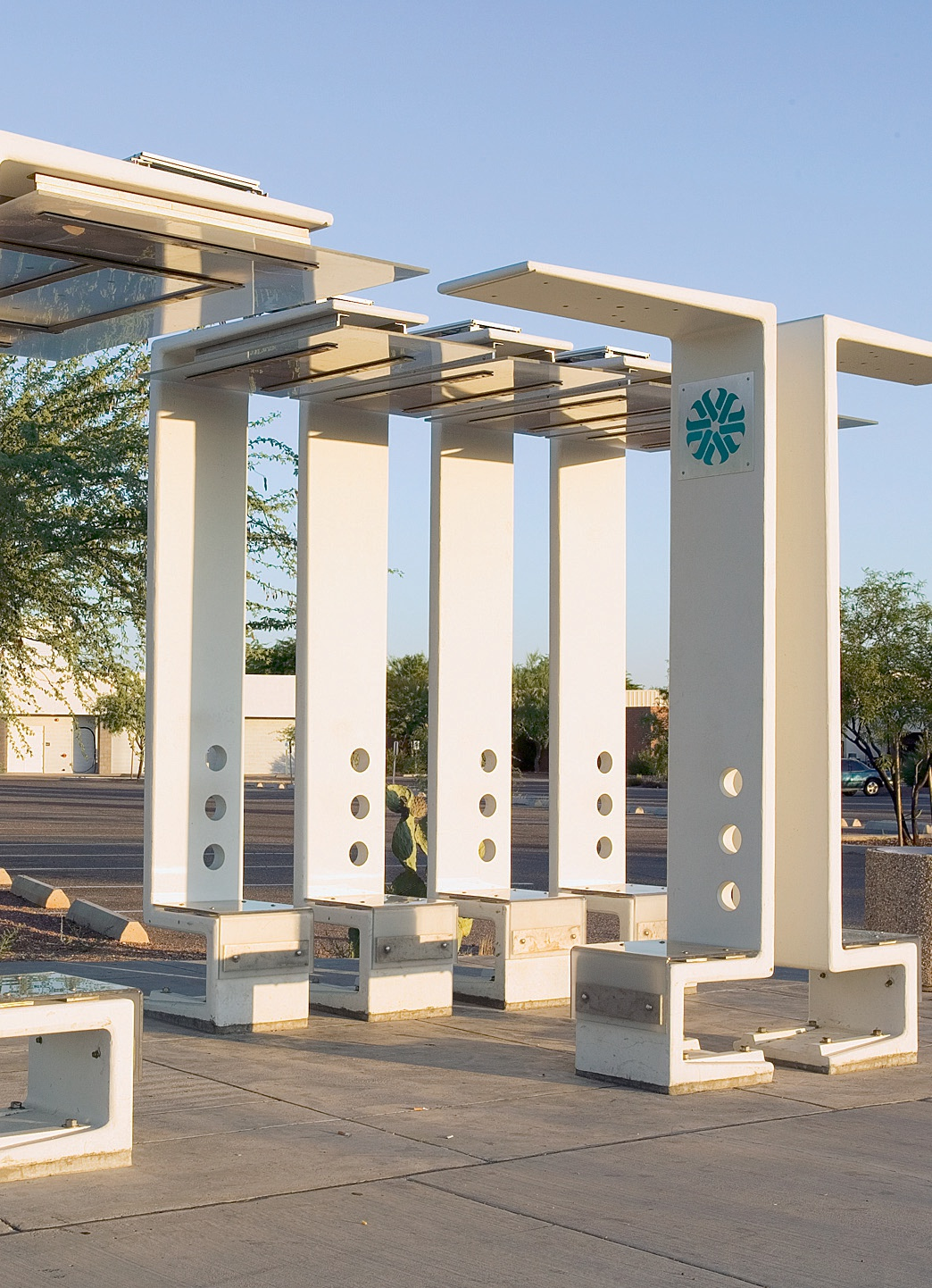 Line and Space LLC Architects won a design competition for new bus-stop furnishings in Tucson, Ariz. Their modular solution was constructed with Ductal to assure low maintenance, high visibility and durability against extreme heat.