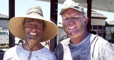 Mike Rowe and Richard Smith from Dirty Jobs slinging color hardner.
