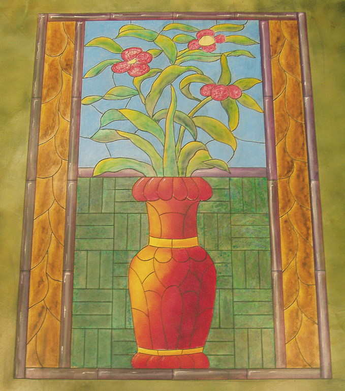 Engraved concrete floor of a red flower pot with three flowers and green leaves