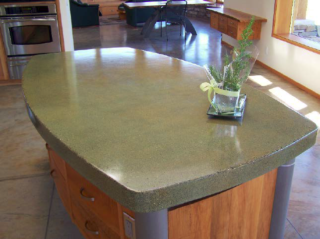 a side view of a kitchen countertop island