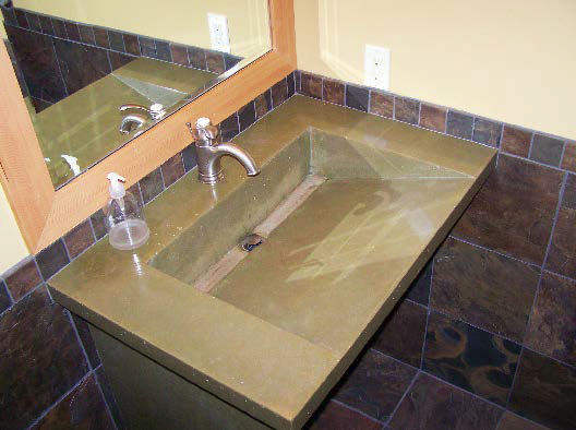 Green concrete countertop with sink built in