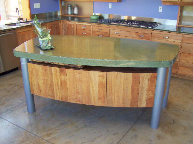 Modern concrete countertop on a kitchen island
