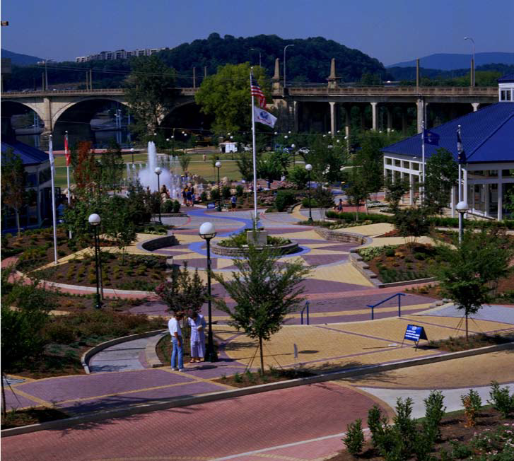 Coolidge Park in Chattanooga, Tenn., was created to honor Chattanooga's military heroes and show the city's commitment to urban revitalization. The custom colored concrete pavers help give the park a festive atmosphere.