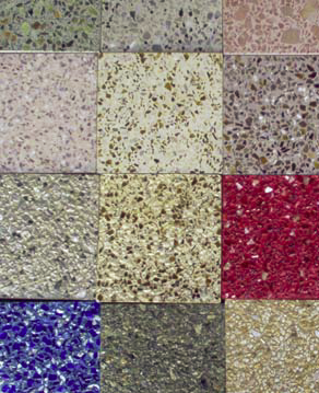 The most notable feature of terrazzo is its color. Colorful aggregates, especially glass and mirror, are mixed in a matrix colored to compliment or contrast.