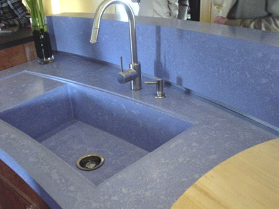 Blue concrete sink by Beto of Buddy Rhodes