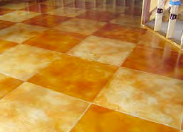 Stained concrete pattern with two alternating colors.