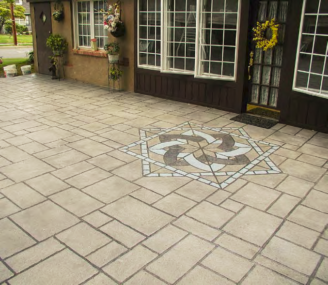 A geometric pattern is placed at the entryway of this outdoor patio.