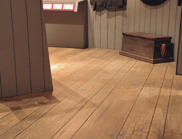 A look a the woodplank like foor that has been placed in this North Carolina museum.