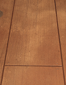 A close-up shot of the wood plank concrete overlay in this museum.
