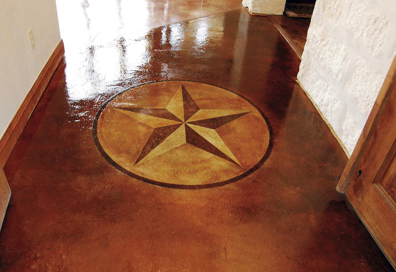 Daryl Dansby of The Beauty of Concrete in Leander, Texas, added depth to this star design by etching with more acid stain in some areas and less in others.