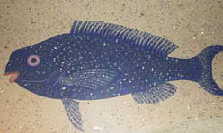 These fish can be found on the floor of Emeril's New Orleans Fish House, a new restuarant located in the MGM Grand Hotel and Casino in Las Vegas. The restaurant specializes in Creole/Cajun food, and fish are prominently featured in its decor.