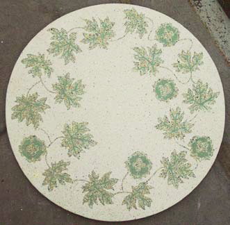 A tabletop with leaf inlays made by Allen Sedaka of Durite Concepts.