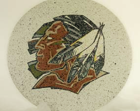 A design of a Native American chief was installed into terrazzo on this floor.