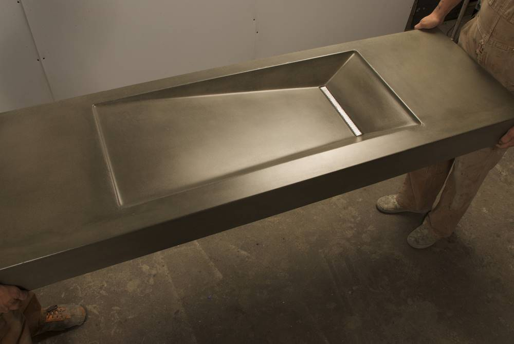 Best GFRC Mix Designs by Brandon Gore was used to make this concrete sink.