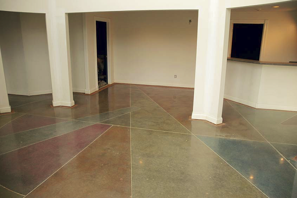 Indoor air quality was improved in this home by tearing out old carpeting, then polishing and dyeing the concrete floor.