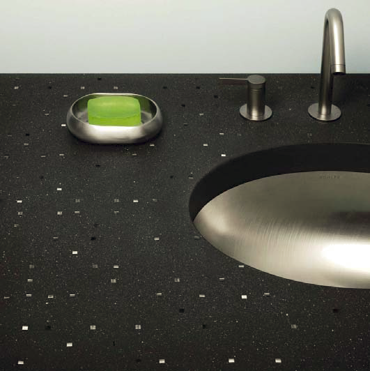 A vanity top using Sensitile Terrazzo.