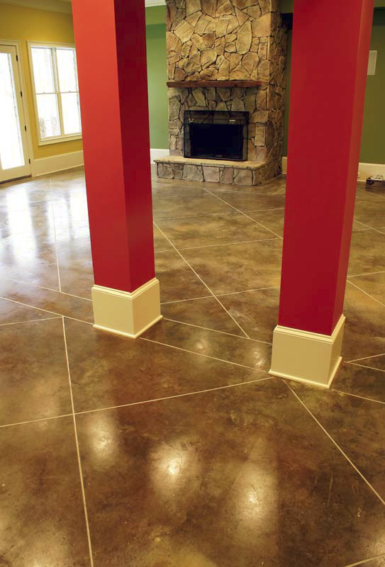 This floor in a private residence in Georgia was hard-troweled and stained with SRI Concrete Products' Renaissance Spanish Moss.