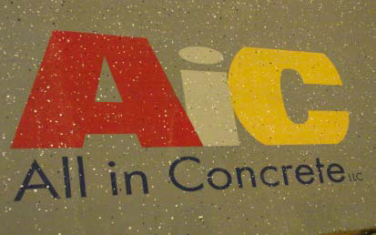 This All in Concrete logo was placed on the concrete with RapidShield