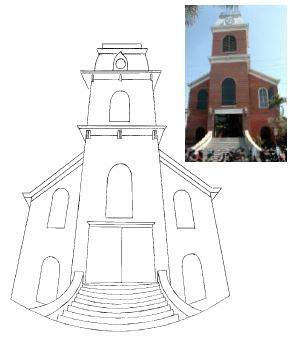 Steven Ochs deliberately distorted his sketch of Key West's Old City Hall.