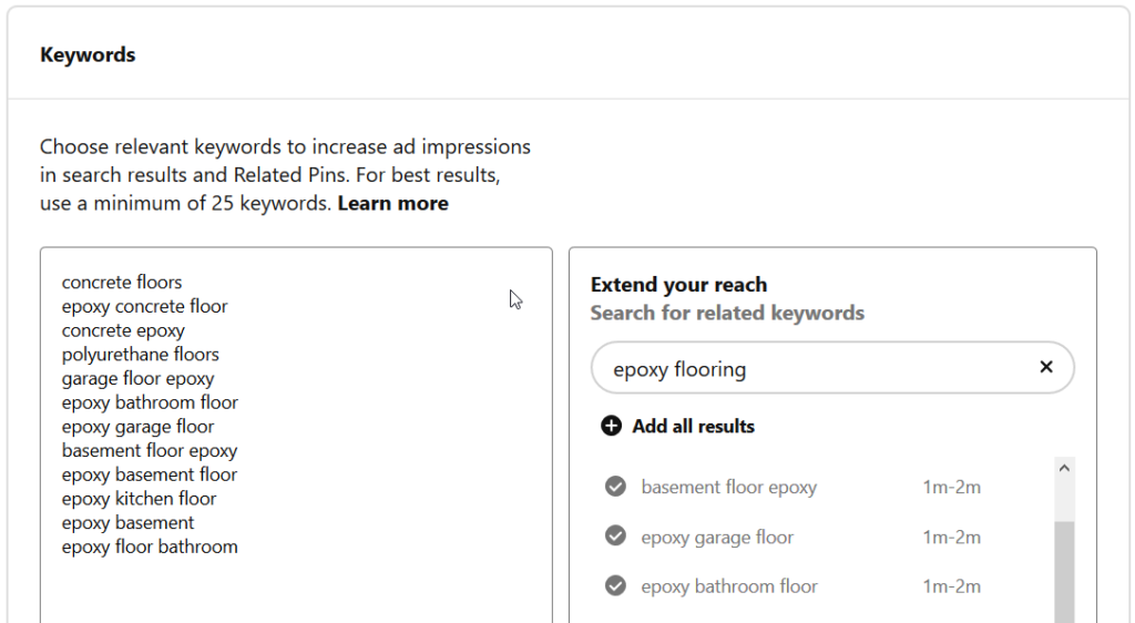 Using keyword targeting in your ad on Pinterest