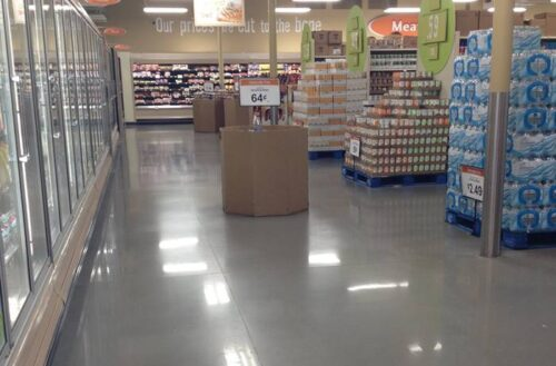 A grocery store with polished concrete that has been densified.