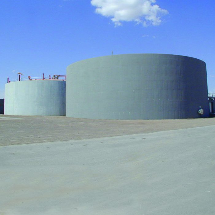 Large containment tanks using Type K cement eliminates leakage and seepage points.
