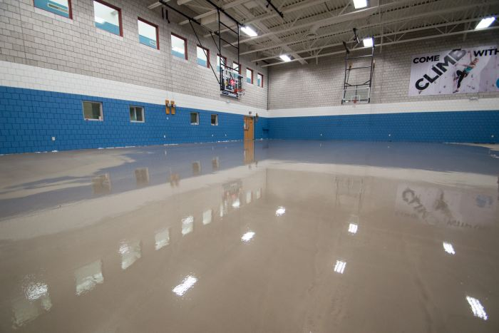 A vapor barrier was installed below the gymnasium floor to ensure the concrete below would be sound for years to come.