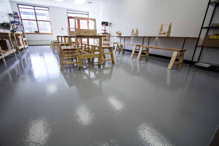 A workshop space that was restored with Laticrete's product