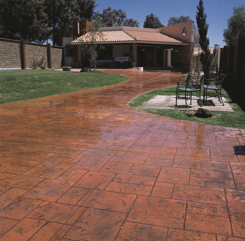 a stamped decorative concrete patio with integral color