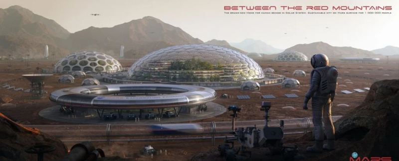 an artistic rendering of Mars in the future made with concrete