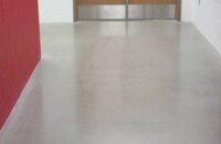 Hybrid polished concrete in a hallway