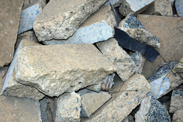 A pile of concrete rubble that is waiting to be recycled or reused.