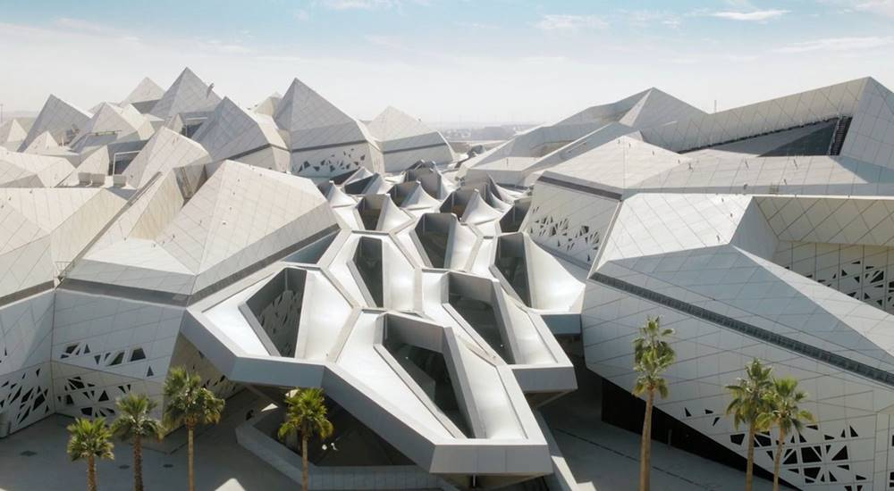 The King Abdullah Petroleum Studies and Research Center has intricate roofline designs.