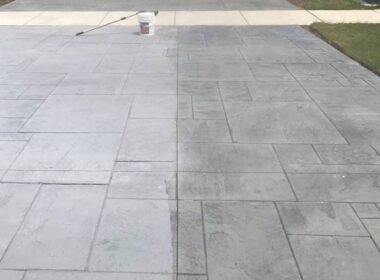 A concrete driveway that is sealed with Decra-Seal