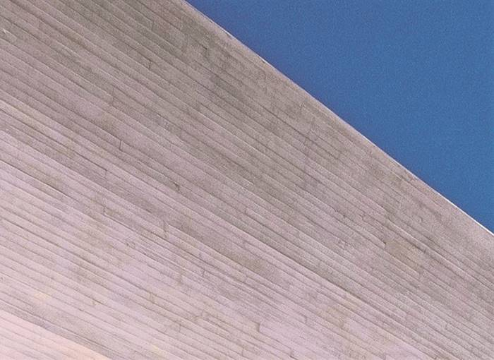 Form Lined Tongue and groove concrete planks created this expansive wall at the Kennedy Center