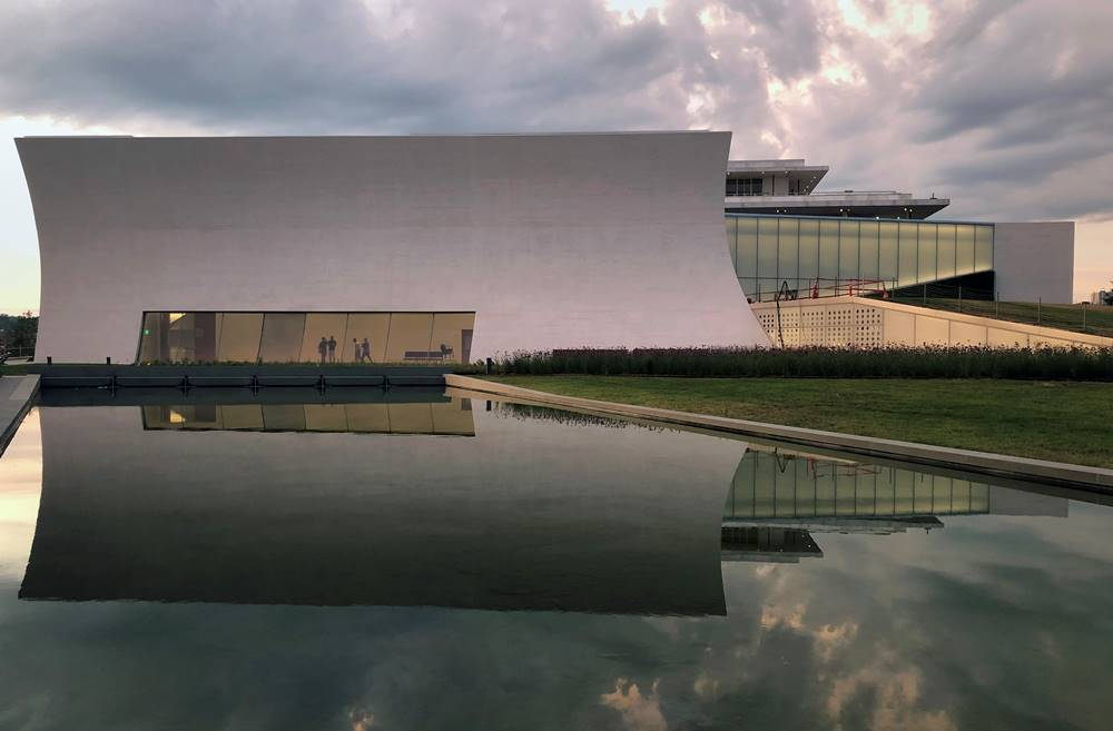 The Kennedy Center Pavilions Skylight Pavilion with a reflecting pool to capture the expanse of the grounds and the sky.