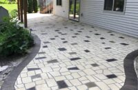 A stenciled concrete patio