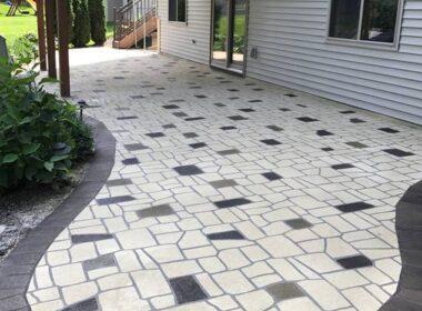 A stenciled concrete patio
