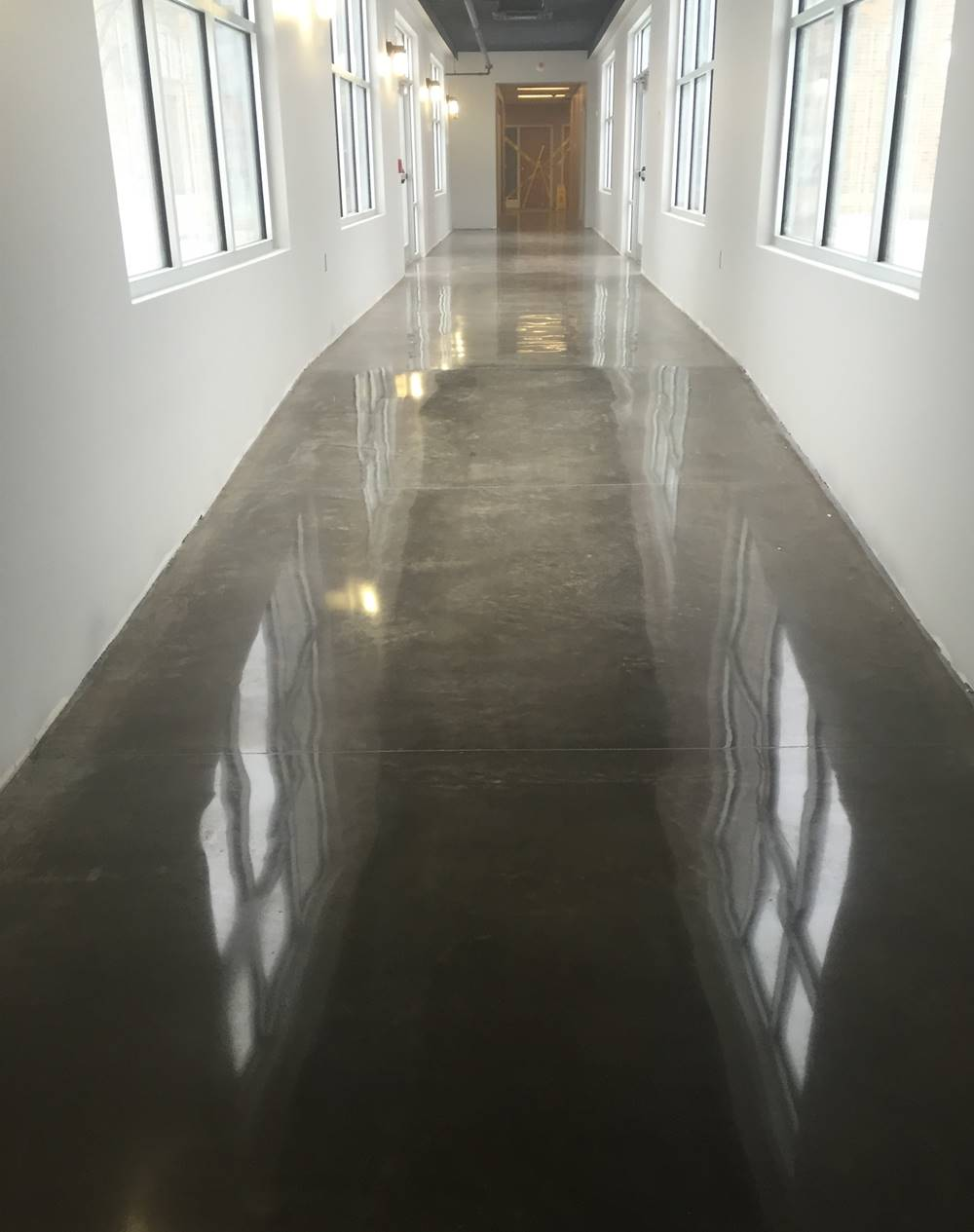 Polished concrete floor that was accomplished with a Terrco Concrete Grinder