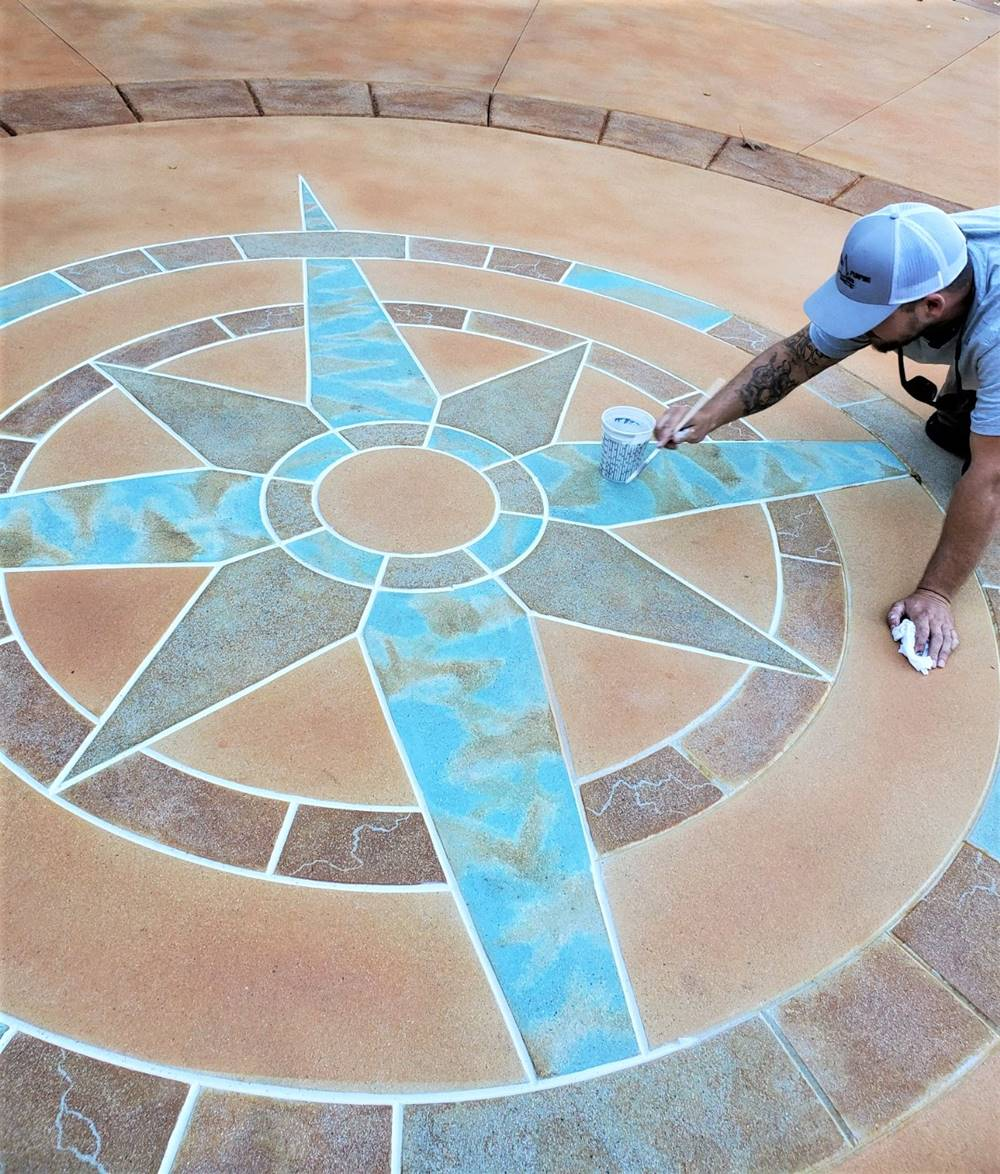 compass rose in concrete