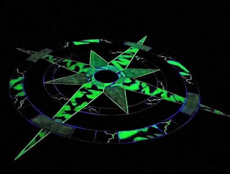 glow in the dark compass rose