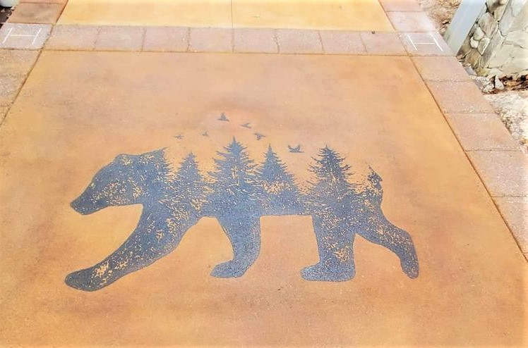 an installed flattoo stencil - the decorative side of concrete