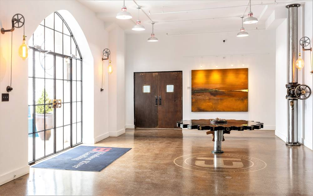 Hudson River Landing in New York lobby with a concrete table installed
